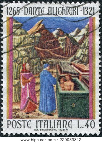 ITALY - CIRCA 1965: A stamp printed in Italy, is dedicated to the 700th anniversary of Dante Alighieri, is shown Farinata degli Uberti and Cavalcanti in Hell, circa 1965