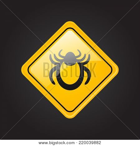 Ticks warning mite bug sign. Encephalitis parasite icon. Vector illustration of tick warning sign. Beetle tick danger crossed sign vector flat icon. Tick mite bug Attention sign. Forbidden sign