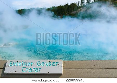 Excelsior Geyser in Yellowstone National Park Wyoming