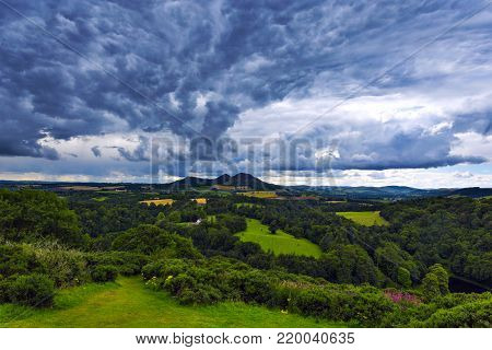 Beautiful landscape of Scott's View to the Eildon Hills and River Tweed in the Scottish Borders. Scotland, UK