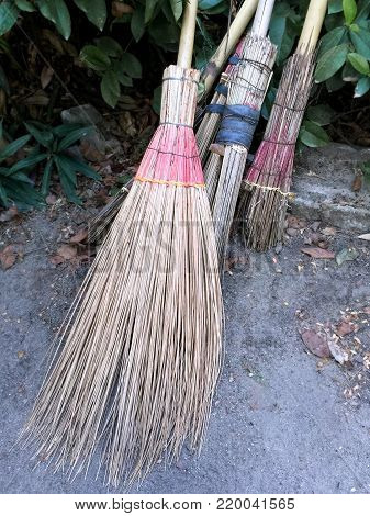 Thai-Style Bamboo Broomstick for Sweeping Dirt on the Ground