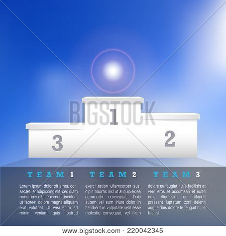 Vector Winners Podium. Business Success Concept. Clear Pedestal on a Blue Sky Background. Sample Text. First, Second, Third Place.