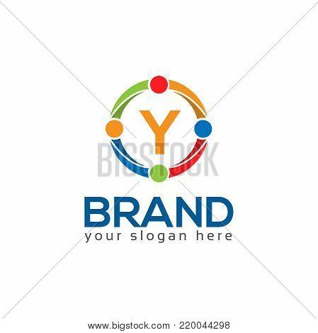 Letter Y in circle. Flat logo design.