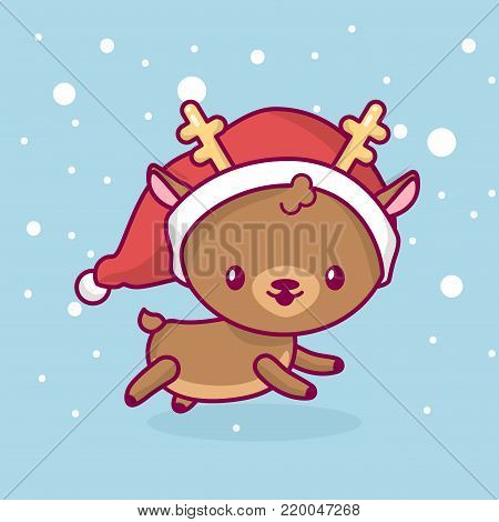 Lovely cute kawaii chibi. deer side view running under snow. Merry christmas and a happy new year.
