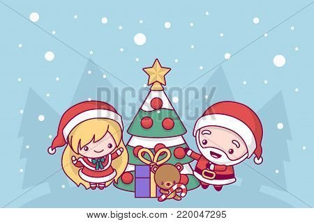 Lovely cute kawaii chibi. Santa Claus and Snow Maiden decorate the New Year tree under the snow. Merry christmas and a happy new year. greeting card.