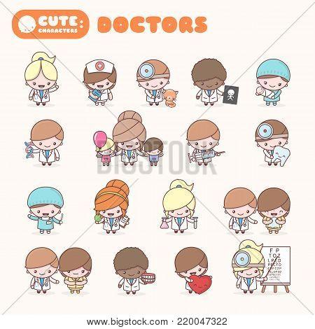 Cute chibi kawaii characters profession set: Doctors. Flat cartoon style