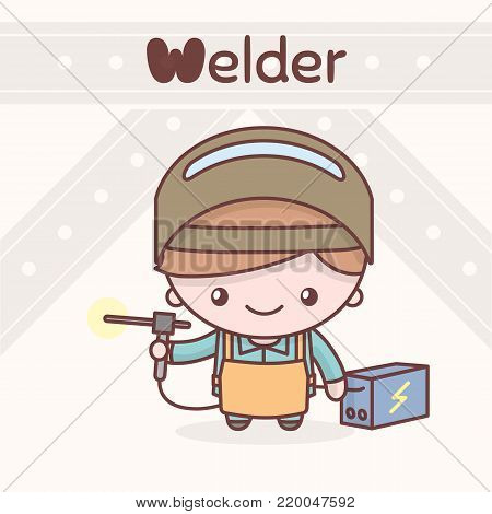 Cute chibi kawaii characters. Alphabet professions. The Letter W - Welder. Flat cartoon style