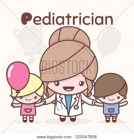 Cute chibi kawaii characters. Alphabet professions. The Letter P - Pediatrician. Flat cartoon style