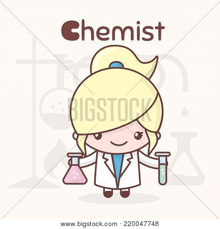 Cute chibi kawaii characters. Alphabet professions. The Letter C - Chemist. Flat cartoon style
