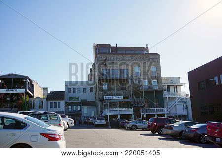 PETOSKEY, MICHIGAN / UNITED STATES - OCTOBER 18, 2017: The historic brick building of the Graves School, constructed in 1868, now houses the Roast and Toast Café, in downtown Petoskey.