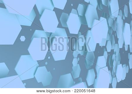 Blue Hexagons Of Random Size On Blue Background