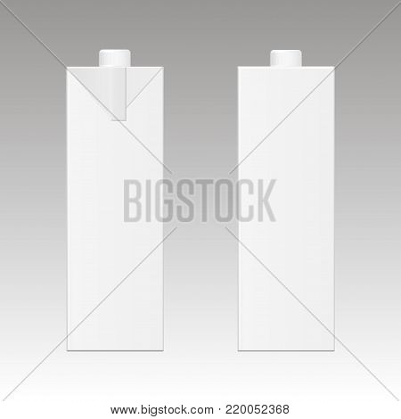 Mock up of milk or juice box on white background. Realistic carton one liter package.  Vector illustration.