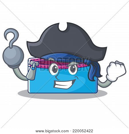 Pirate pencil case character cartoon vector illustration