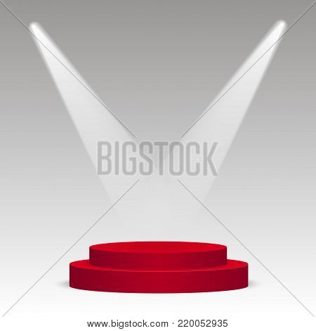 Red round podium. Pedestal, scene, spotlight. Vector illustration
