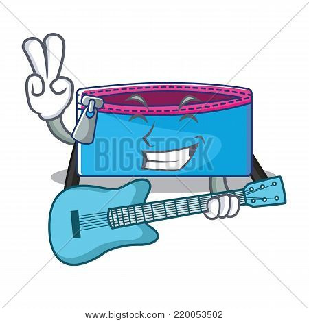 With guitar pencil case character cartoon vector illustration