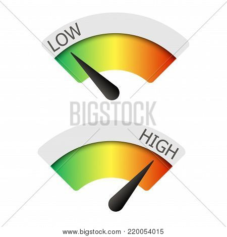 Low  and High gauges on white. Vector illustration
