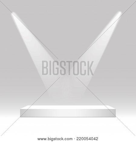 White rectangular podium. Pedestal, scene, spotlight. Vector illustration.
