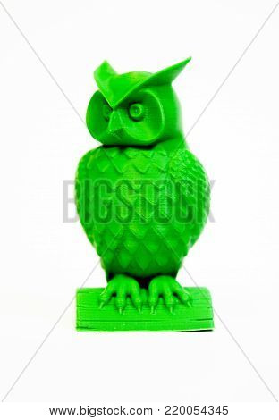 Abstract object of green color printed by 3d printer on white background. Fused deposition modeling, FDM. Progressive modern additive technology. Concept of 4.0 industrial revolution