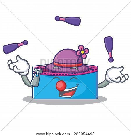 Juggling pencil case character cartoon vector illustration