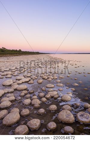 Twilight at the Thrombolites at Lake Clifton in the Peel Region, south of Perth, Western Australia.