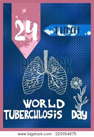 bright poster on the day of the fight against tuberculosis blue and pink color advertising