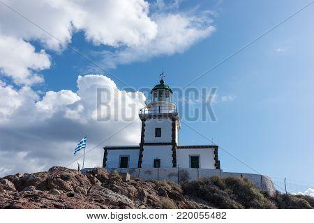 Lighthouse on south coast of Santorini Island
