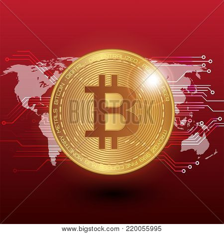 Bitcoin stock vector illustration. Digital currency. Cryptocurrency. Golden coin with bitcoin symbol depicted on the red background and world map.