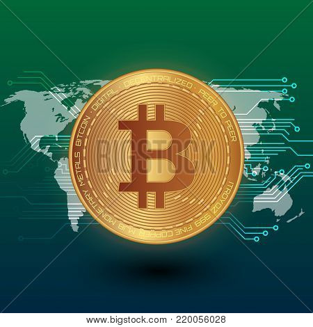 Bitcoin stock vector illustration. Digital currency. Cryptocurrency. Golden coin with bitcoin symbol depicted on the green background and world map.