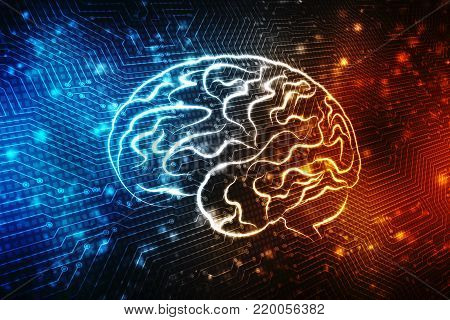 Human brain 2d illustration, Digital illustration of Human brain structure, Creative brain concept background, innovation background,
