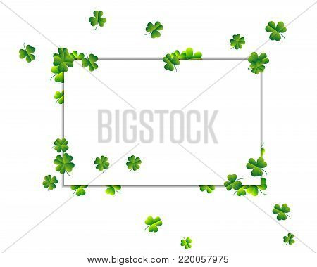 Background With Sprayed Clover Leaves Or Shamrocks. Saint Patricks Day Background.