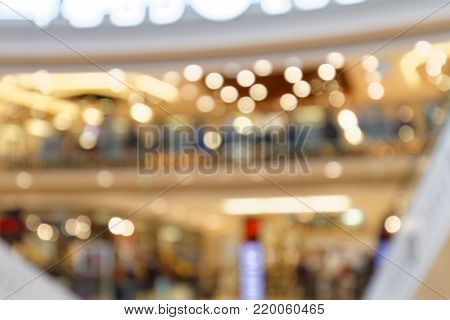 Christmas Lights in Shopping Mall - detail blurred background