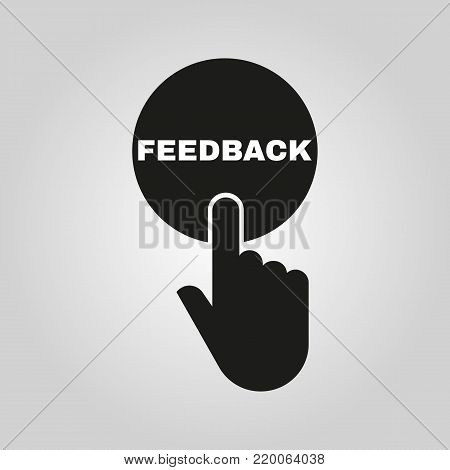 Hand pressing a button with the text FEEDBACK icon. Support, assistance, maintenance symbol. Flat design. Stock - Vector illustration