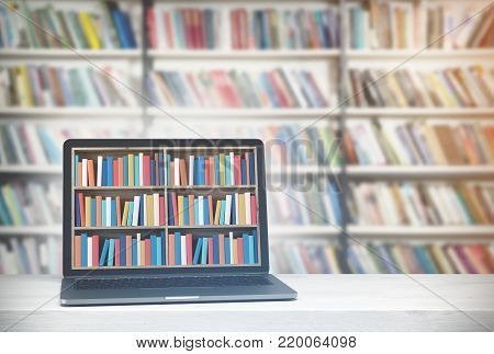 Laptop With Bookshelves On Screen, Library Side