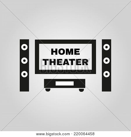Home theater icon. TV, movie symbol. Flat design. Stock - Vector illustration