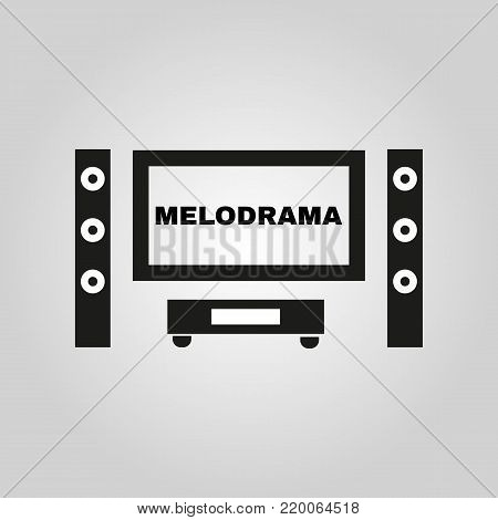 Melodrama movie icon. TV and Home theater, cinema symbol. Flat design. Stock - Vector illustration