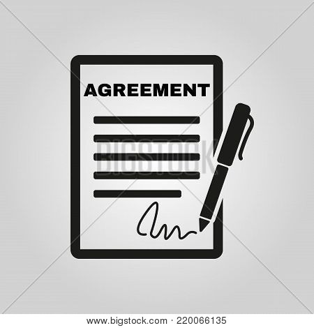 Agreement icon. Contract and signature, pact, accord, convention symbol. Flat Vector illustration