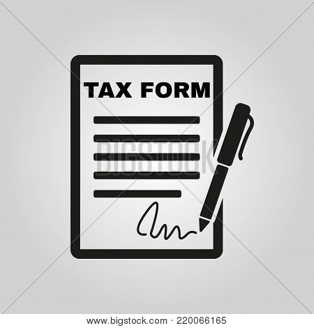 Tax form icon. Charge, contribution symbol. Flat design. Stock - Vector illustration
