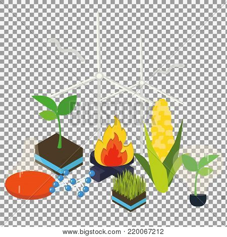 Bioenergy set of different  icons on transparent background. Flat design concept with alternative bioenergy. Isometric icons vector illustration