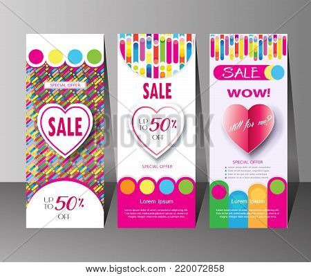 Sale discount banners set with colorful dynamic shapes, lines and heart for Holiday Sales Valentine`s Day, Mothers Day, Woman`s Day, Birthday, Summer, Spring Holiday Sales graphic design, art, print, web, fashion, dress sale, clothes. Vector Modern advert