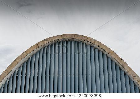 Belo Horizonte, Brazil - Dec 26, 2017: Modernist church of Sao Francisco de Assis by Oscar Niemeyer in Pampulha, UNESCO World Heritage Site, Belo Horizonte, Minas Gerais, Brazil, South America