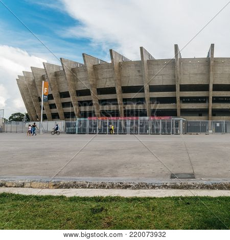 Belo Horizonte, Brazil - Dec 26, 2017: Mineirao is the largest football stadium in the state of Minas Gerais, Brazil. It was established in 1965, and it is located in Belo Horizonte