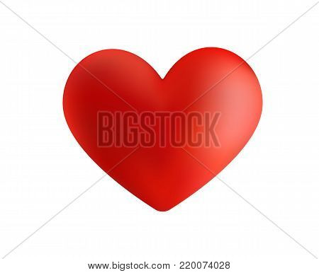 Vector 3D heart isolated on white. Valentine s day heart. Beautiful heart illustration.