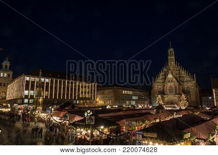 Nuremberg, Germany - December 7Th, 2017: Panorama Of The Christmas Market In Nuremberg At Night