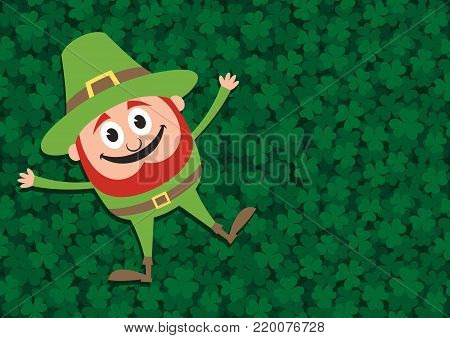 Illustration of happy leprechaun lying down on clover meadow. The meadow itself is seamless pattern.