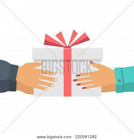Man gives a gift to a woman. Cardboard box in hands. Receive gift Valentine's Day, Christmas. Vector illustration flat design. Isolated white background. White cardboard box with red ribbon and bow.