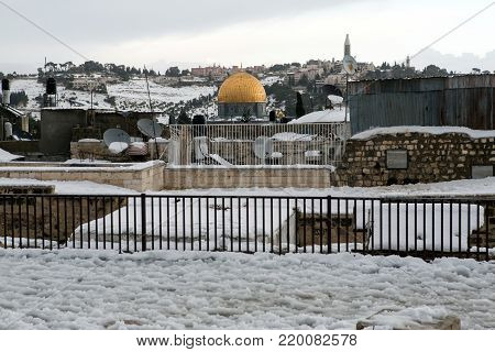 Jerusalem old city during a snow storm