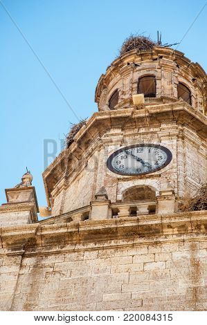 Clock tower with a stork's nest , Toro, Zamora, Spain