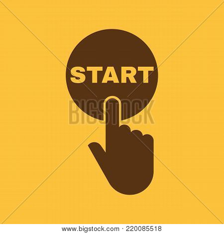 Hand pressing a button with the text START icon. Startup, launch, run symbol. Flat design. Stock - Vector illustration