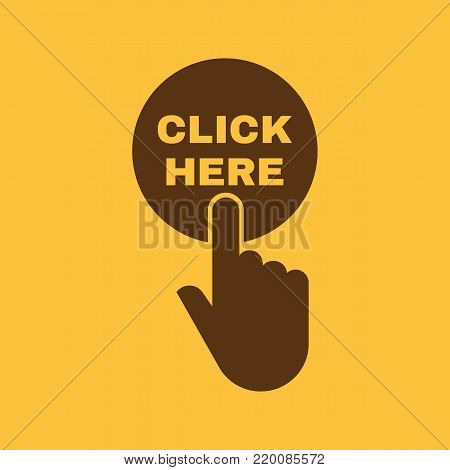 Hand pressing a button with the text CLICK HERE icon. Press, push, tap symbol. Flat design. Stock - Vector illustration