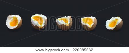 Set of five boiled smash broken hen beige egg isolated on dark blue. Egg's liquid yolk photo, bright contrast